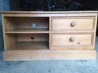 Solid antique pine TV video cabinet