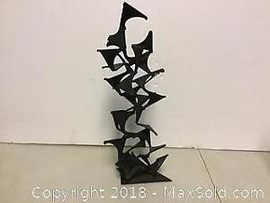 Mid-century Modern signed cast iron Sculpture