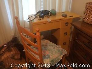 Sewing Machine and Basket Plus Chair B