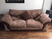 Brown cord 3 seater sofa, chair and storage footstool