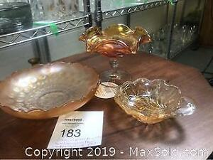 3 Pieces Carnival Glass Fancy Bowls