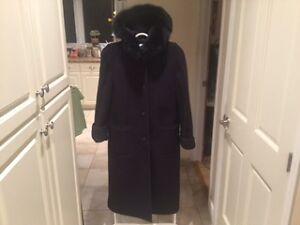 London Fog Full Length Winter Coat with Faux Fur Collar