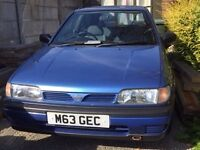 Nissan Sunny Sequel 1.4. 1995, 90761 miles. Baby blue. Extremely reliable but failed MOT.