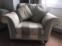 3 Seater Sofa, Armchair & Storage Footstool (Furniture Village - duck egg blue & ivory)