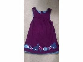 Jojo Maman Bebe purple cord woodland dress. Age 3-4.
