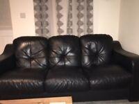 3 seater black faux leather sofa