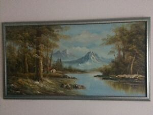 Hand painted painting in frame