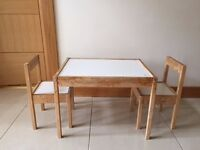 Childrens Table & Two Chairs Set
