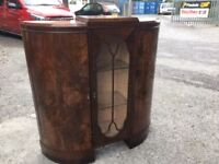 Bow fronted wooden/glass cabinet