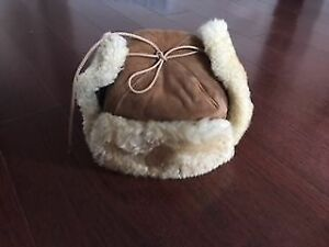 Natural sheep skin hat for kids