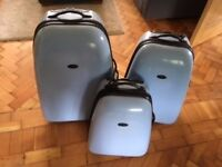 Set of 3 pale blue suitcases