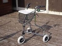 3 WHEEL ROLLATOR COMPLETE WITH SHOPPING BASKET AND TRAY .