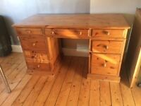 Solid pine, custom made pedastel desk with lots of storage and deep hanging file drawer