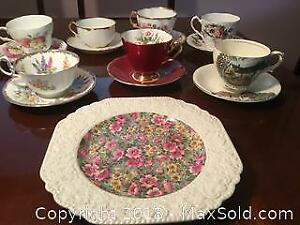 7 Tea Cups, Saucers and a Square Sandwich Plate