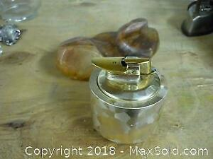 Vintage Table Lighter and Stone Ashtray -A