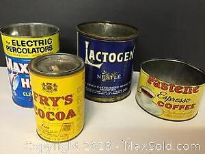 lot of vintage Cans, coffee, etc.