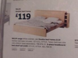 IKEA MALM DOUBLE BED AND MATTRESS, WARDROBE FOR SALE