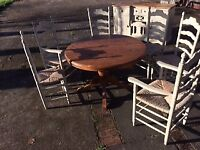 Extendable Dining Room table and 6 chairs in distressed pine good condition - £100