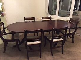 Mahogany Table and 6 Chairs With Centre Extension Very Good Condition