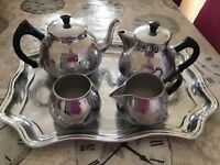 Vintage tea pot, hot water pot, sugar,milk and tray