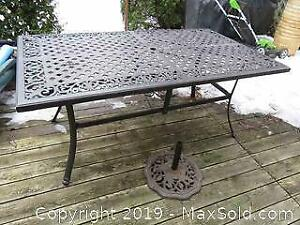 Wrought Iron Table And Umbrella Stand C