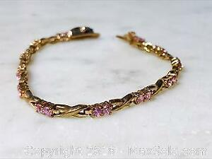 8.6 gm Gold Plated 925 Pink Sapphire Bracelet