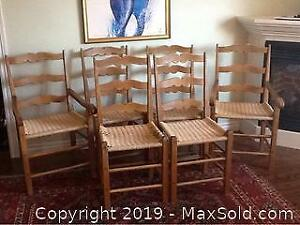Set Of 6 Vintage French Rope Chairs Primitive