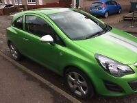 Bright green corsa sting with silver strips, 1.0 eco flex 2014 plate, immaculate condition low miles