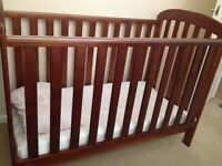 East Coast Anna Drop-side Cot bundle with immaculate mattress + organic bedding