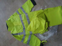 Men's High Visability, waterproof padded Jacket and Trousers XL