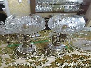 Pair Of Electric Crystal Table Lamps - A