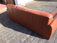Leather 3 Str Sofa - Tan, GOOD used condition.