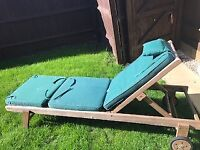 Wooden Sun Lounger with Washable Removeable Cushion