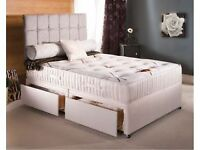 Double Divan BED Leather/Fabric Top Quality Memory Foam Mattress Order Today Deliver Today