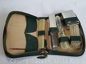 Vintage Green Travel Kit soap and toothbrush holders as well as brush and comb as well as shoe brush and dial soap