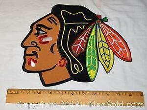 Chicago Black Hawks large embroidered hockey jacket crest.