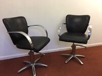 2x Black Hairdressing Chairs