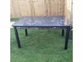 Black Marble Effect 6 seater Dining Table