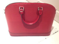 Womens real red leather bag