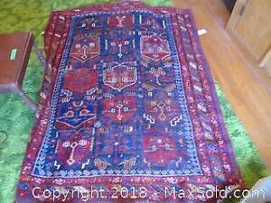 Vintage Knotted Persian Wool Rug - B