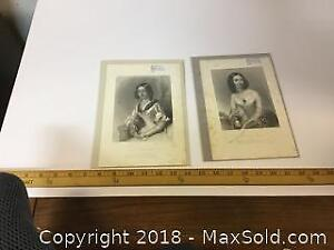 Lot Of 2 Steel Engravings Of Woman From 1851