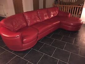 Leather Vogue red double chaise Sofa
