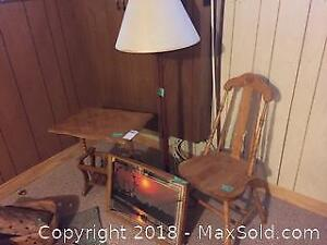 Wooden Side Table And Chair And More.