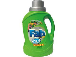 Fab 37060 2X HE Liquid Laundry Detergent, Spring Magic, 50oz, Bottle, 6/Carton,