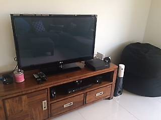 Solid wooden lowline tv unit with drawers