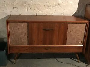 Retro furniture style 1960's stereo with record player