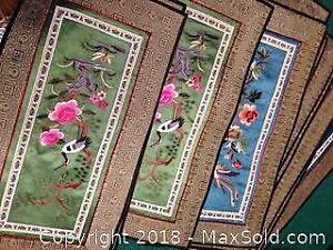 Antique Chinese embroidery needlework silk panels.