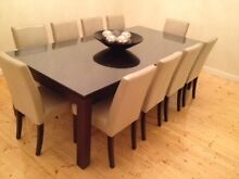 Solid Timber Dining Table & 12 Leather Dining Chairs Seddon Maribyrnong Area Preview