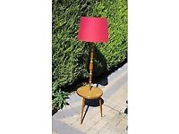 Quirky retro standard lamp and coffee table- complete with new red shade