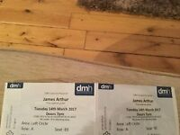 2 * TICKETS FOR JAMES ARTHUR, DE MONTFORT HALL, LEICESTER. TUESDAY 14th MARCH, GREAT SEATS £100